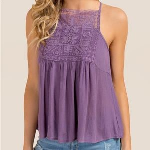 NATALIA HIGH NECK LACE BUST TANK TOP